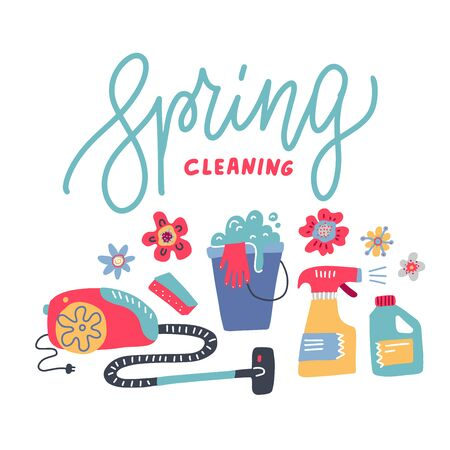Spring Cleaning- line Lettering home Equipment, Housework, Appliance, Domestic Tools. Vector flathand drawn illustration.