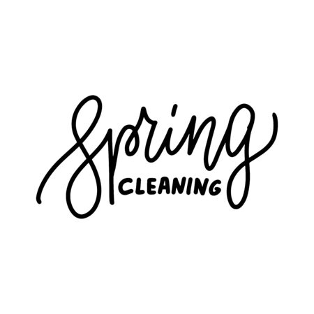 Spring cleaning - Hand drawn line lettering quote. Perfect design for greeting cards, posters, T-shirts, banners, print invitations