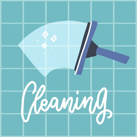 Squeegeewash wall in bathroom or kitchen. Cleaning service. Tettering text. Kitchenware. Kitchen and bath cleaning tool accestories. Vector illustration in flat style. Ilustrace