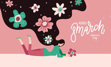 Happy Womens Day - 8 march. Lying Young woman with long hair with flowers. flat hand drawn vector illustration with line lettering.