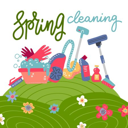 Spring cleaning square background with cleaning tools, equipment in flowering hills field. Flat hand drawn vector illustration for greeting card, ad, promotion, poster, flier, blog, article.