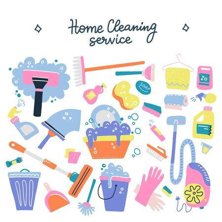 Hand drawn vector cleaning service tools concep. Cleaning equipment symbols. Detergent, iron, mop, dust pan, brushes, bleach, duster,washing liquid, vacuum cleaner,doodle icons, sketch with lettering.