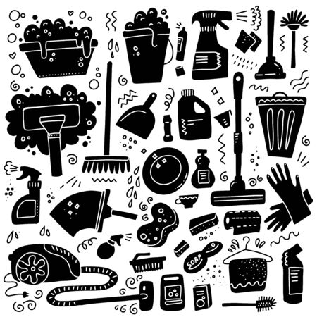 Cleaning tools. Vector set of black signs of cleaning equipment isolated on white background. Collection of housekeeping symbols in doodle hand drawn style. Black and white design illustration Ilustrace
