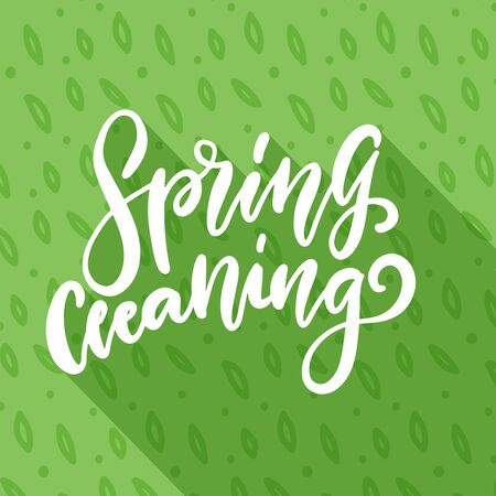 Spring cleaning. Hand drawn lettering in green pattern background with shadow. Vector typography. Good for scrap booking, posters, textiles, gifts, advertising, motivation