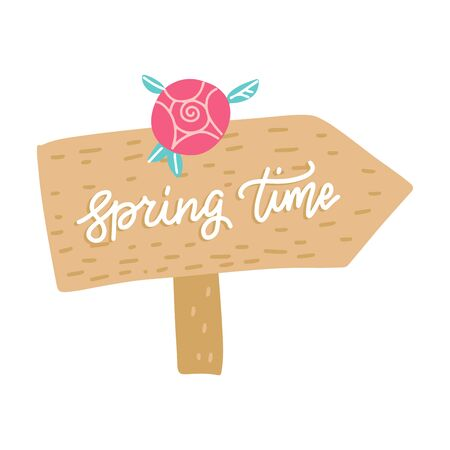 Hand drawn hanging wooden pointer template with lettering text Spring time. Billboard. Place for inscription, announcement. Garden tools. Pointer to the direction of the path or road