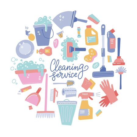 Cleaning tools round composition. Set of cleaning equipment. Collection of housekeeping symbols in doodle hand drawn style. Color conceptual vector illustration Ilustrace