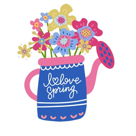 Collection of Colorful abstract Flowers in Watering Can Isolated On The White Background. Flat scandinavian hand drawn Style. Vector Illustration with hand lettering I love spring.
