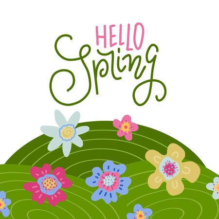 Panorama view of spring field with letterong text - Hello spring. Cartoon landscape with daisy fieldand wavy mountains background, Scenery of nature background. Flat hand drawn vector illlustration.