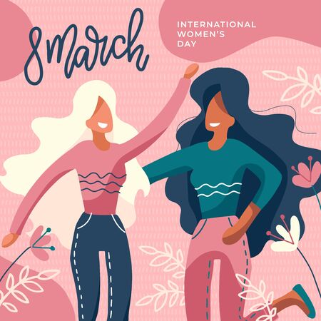 International Womens Day. Girls Together. Two Faceless Ladies Hugging. Girl Power, Feminism Poster with Lettering 8 March. Greeting flat hand drawn Card. Flat Vector Web Banner Template. Ilustrace