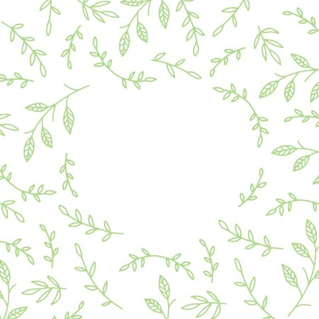 Leaf and branches background with free spase for text. Green pattern with leaves in minimal line doodle style. Decorative frame package backdrop.