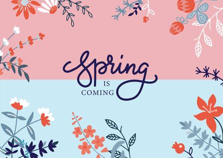 Floral hand drawn poster template with text space and lettering. Spring is coming holidays flat greeting card layout Blooming flowers and leaves banner in flat style. Birthday, vector postcard.