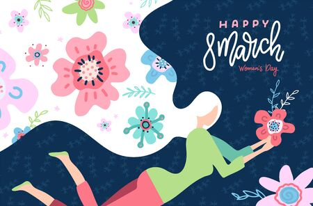 International Womens Day. Cute greeting card with woman illustration in flat style. Abstract flowers in the hair of a girl. Vector templates with hand lettering 8 March for card, poster, flyer. Ilustrace