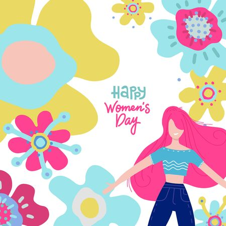 International Happy Womens Day greeting card or banner with young women and big abstract flowers. Vector flat hand drawn Illustration with lettering.