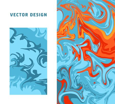 Abstract colorful minimal artistic neon vector backgrounds set. Turkish Paper Marbling or Ebru Art Technique. Beautiful marbled texture in blue and orange colors for poster, print or cover design.