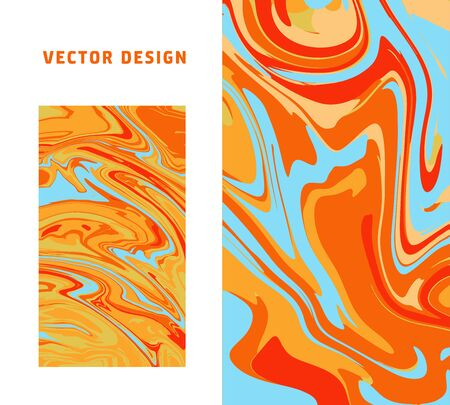 Vector Light Orange and blue marble abstract backgrounds set. Liquid marble pattern. Trendy template for design, wedding, invitation, party, birthday, web, banner, card.