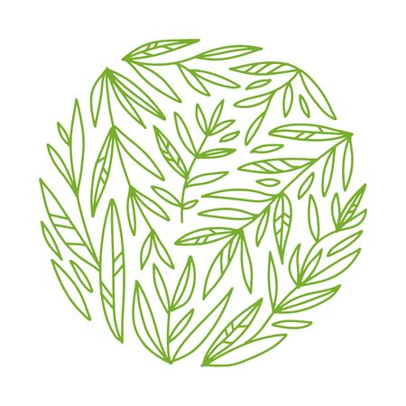 Green tea. Round leaves and branches pattern concept in an outline style. Composition with abstract hand drawn elements. Doodle style. Template for cafe menu, packaging or signboard