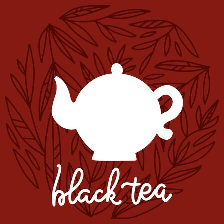 Tea time label. White silhouette oi Teapot with floral design elements on backgriund. Porcelain kettle isolated on brown background. Restaurant menu or Invitation. Vector hand drawn line illustration.