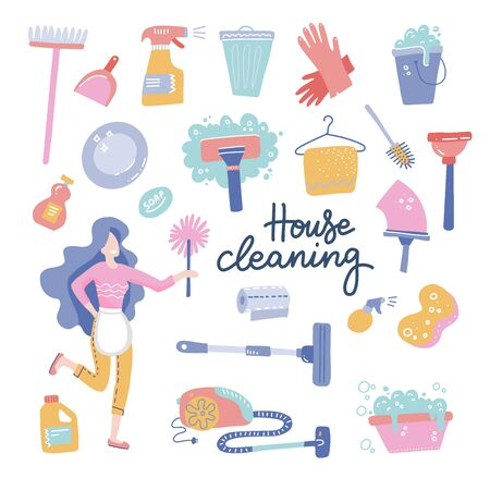 House Cleaning service woman character. Housekeeping icons of cleaning equipment. Vector cartoon flat style illustration. Isolated on white background with lettering.