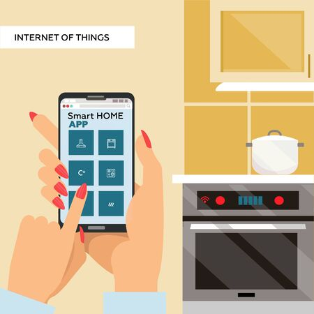 Woman Hands holding smartphone with Smart home app on screen. internet of things for kitchen. Cooking pot on stove. Vector flat illustration