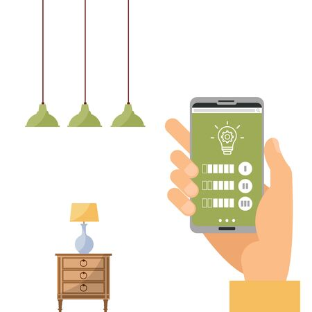 Wi-fi app on phone used to control smart lamp in smart home system. Hand holding smartphone, changing color light. Remote bulb light. Phone connection with wireless lamp. Vector flat illustration.