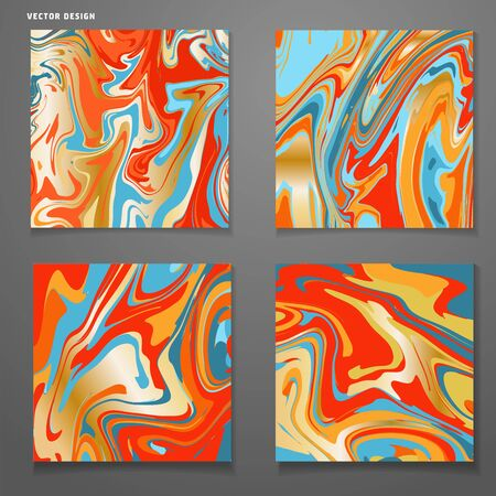 Set of cards with trendy colorful marble swirls. Set of four cards. Linear brights twisted backdrop template in blue , orange and golden . Vector illustration.