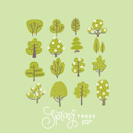 Trendy Flat Trees and Flowers Set Vector Illustration . Scandinavian style blooming trees collection.