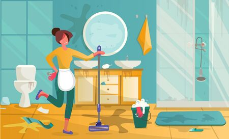 Yound Woman cleaning bathroom. Housewife mopping floor or washing with detergent in bucket. Cartoon toilet or bath room furniture with shower, sink or mirror and shelf. Flat vector illustration.