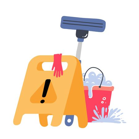 Cleaning service concept. Creative modern web banner - Yellow Caution wet floor sign, plastic red bucket, mop, latex gloves . Vector flat illustration