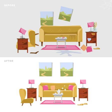 Living room before and after cleaning concept. Modern interior design with yellow sofa, table, pictures. Dirty interior. Isolated vector flat illustration 일러스트