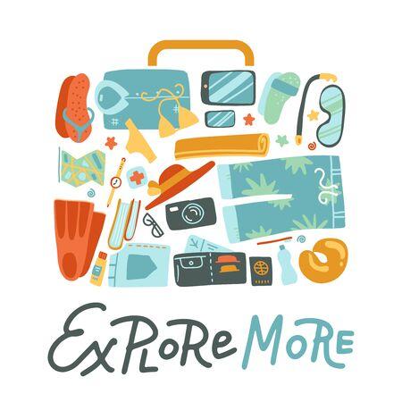 Bag shape packing suitcase travel concept background consisted of traveling stuff. Flat vector illustration for web design. Ilustração
