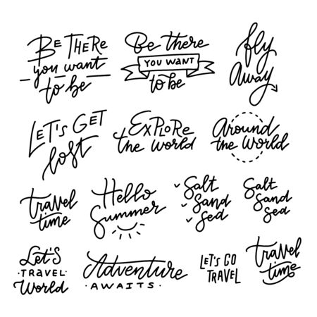 Vector set of Hand drawn linear trendy calligraphy. Summer holidays and vacation quotes, phrases and lettering words. 일러스트