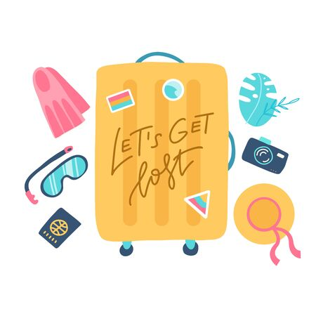 Composition with a yellow suitcase and accessories travel. Holidays on the beach concept. Vector flat illustration with lettering quote Lets get lost.