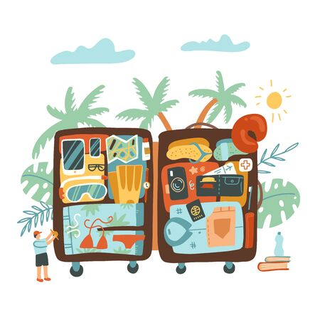 Open suitcases with travel things, icons and objects. Baggage, luggage traveling comcept woth man character and palm leaves. Flat hand drawn vector illustration