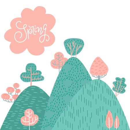 Spring or summer landscape background. Forest on mountains, hills, green and pink trees, cloud withh lettering on the sky. Hand drawn vector doodle illustration of nature.