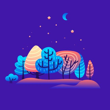 Vector illustration in trendy flat gradiient and linear style - background with copy space for text - trees, plants, and forest landscape. Concept for banner, greeting card, poster and advertising