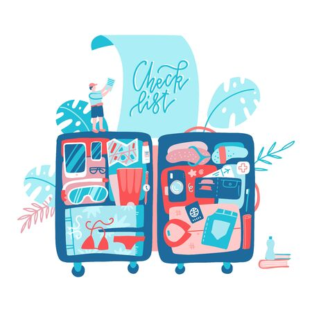 Holiday Planning Travel Banner with big Suitcase. Tour Route Transport Tickets Concept. Traveling bag with luggage stuff inside. Flat Vector flat Illustration.