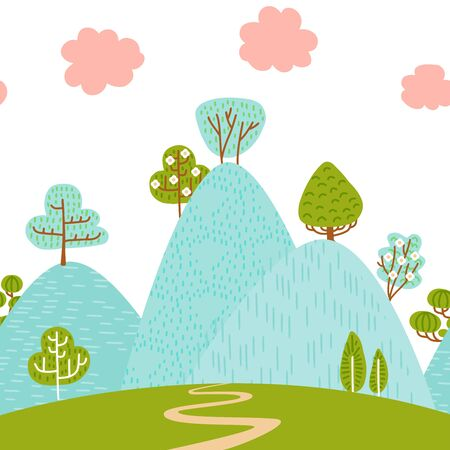 Seamless border pattern with mountain hilly landscape with foliar plants and trees. Scandinavian style. Environmental protection, ecology. Park, exterior space, outdoor. Vector flat illustration.