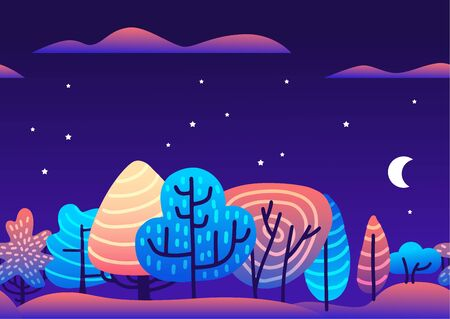 Trendy flat vector illustration with violet and pink vibrant bright gradient trees forest at night. Floral and botanical modern background for posters, banners, invitation, cards