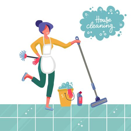 Young woman housewife cleaning the tiled floor with a mop and a bucket of water. People activity, Daily routine vector flat Illustration on a white background with lettering House cleaning
