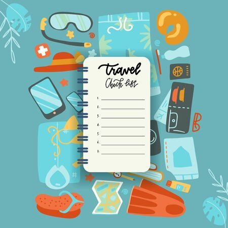 Packing list, travel planning concept. Preparing for vacation, travel, journey, trip. Noteboot sheet with Baggage, air tickets, passport, wallet, camera, palm leaves. Top view Vector flat illustration