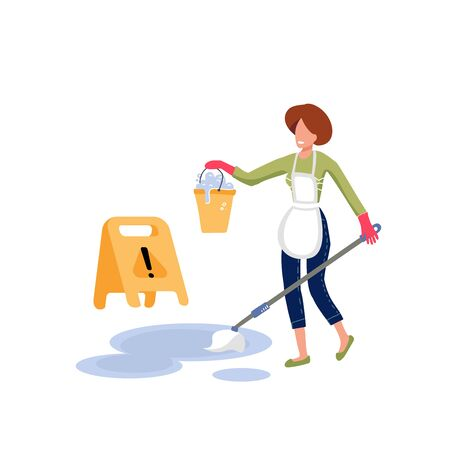 Smiling woman in white apron cleaning the floor with a mop, holding a bucket of water. Near caution wet floor sign. Professional worker of cleaning service company. Flat vector character illustration