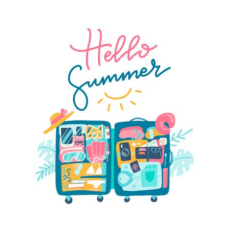 Open suitcase with the beach accessories inside the luggage. Text lettering design of HELLO SUMMER. Vector hand drawn flat illustration 일러스트