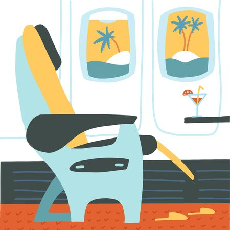 The passenger seat in airplane business class. Cocktail on the site of the chair. Tropical vacation. Summer travelling concept. Vector flat cartoon illustration