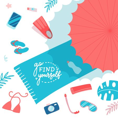 Beach Accessories on sand flat lay top view. Towel with lettering Go find yourself, umbrella, flip flops, flippers, snorkeling mask, sun cream. Have fun on a beach. Vector flat cartoon illustration
