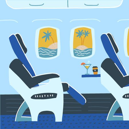 Aircraft cabin with passenger seats. Tropical vacation. Summer travelling comcept. Vector flat cartoon illustration