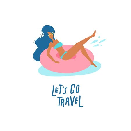 Pretty girl on swimming ring. Women relaxing in a pool or sea with resting on inflatable pink donut mattress. Lets go travel lettering text. Vector flat cartoon illustration Vectores