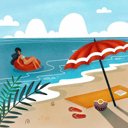 Tropical landscape. Palm trees and tropical plants. Seascape. Beach towel with umbrella on the beach. Woman in swimwear floating on rubber ring in sea waves. Flat textured  illustration.
