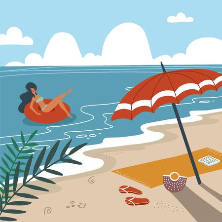 Tropical landscape. Palm trees and tropical plants. Seascape. Beach towel with umbrella on the beach. Woman in swimwear floating on rubber ring in sea waves. Flat vector illustration.