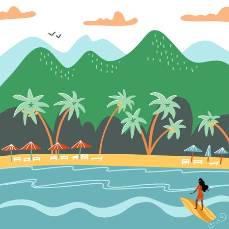 Beach summer landscape. Tourist sunbeds on the coast, umbrellas and palms near the mountains. Vacation, relaxation, ocean, sun, palms. Surfing girl. Vector flat illustration 일러스트