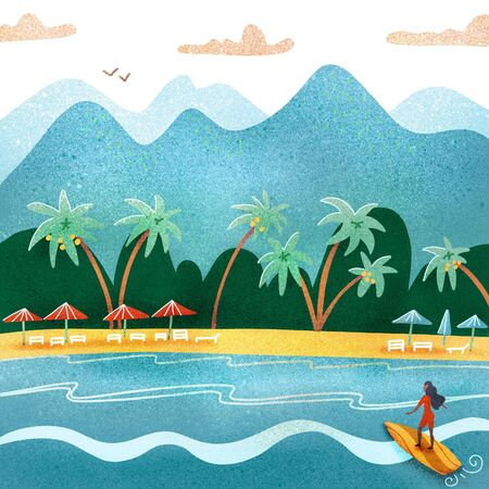 Beach summer landscape. Tourist sunbeds on the coast, umbrellas and palms near the mountains. Vacation, relaxation, ocean, sun, palms. Surfing girl. textured flat illustration.
